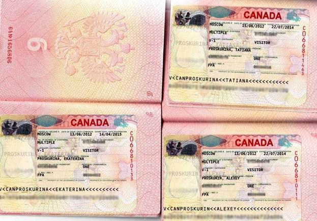 Паспорт с визой Канады