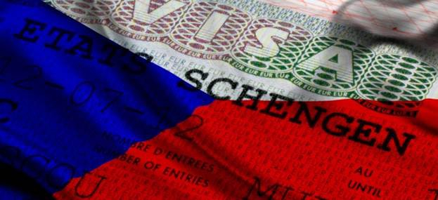 Флаг Чехии на визе