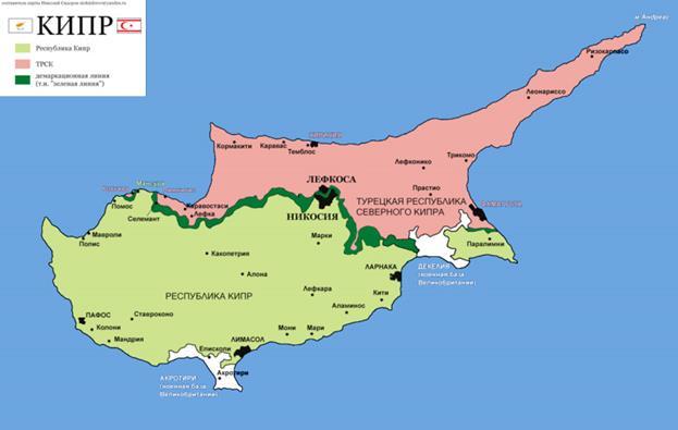 Карта острова Кипр